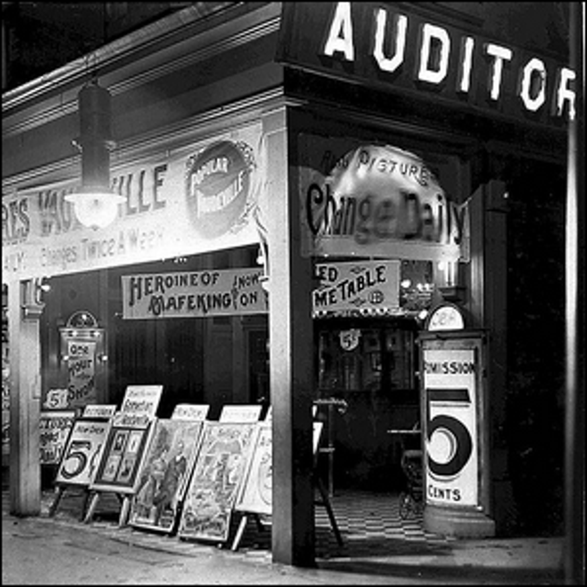 A 1910 photo of the Auditorium Theater at 382 Queen Street West in Toronto, Canada.