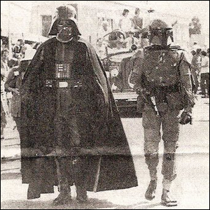 Darth Vader and Boba Fett leading the annual San Anselmo Country Fair parade in 1978.
