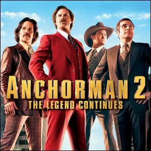 The movie poster for Anchorman 2: The Legend Continues.