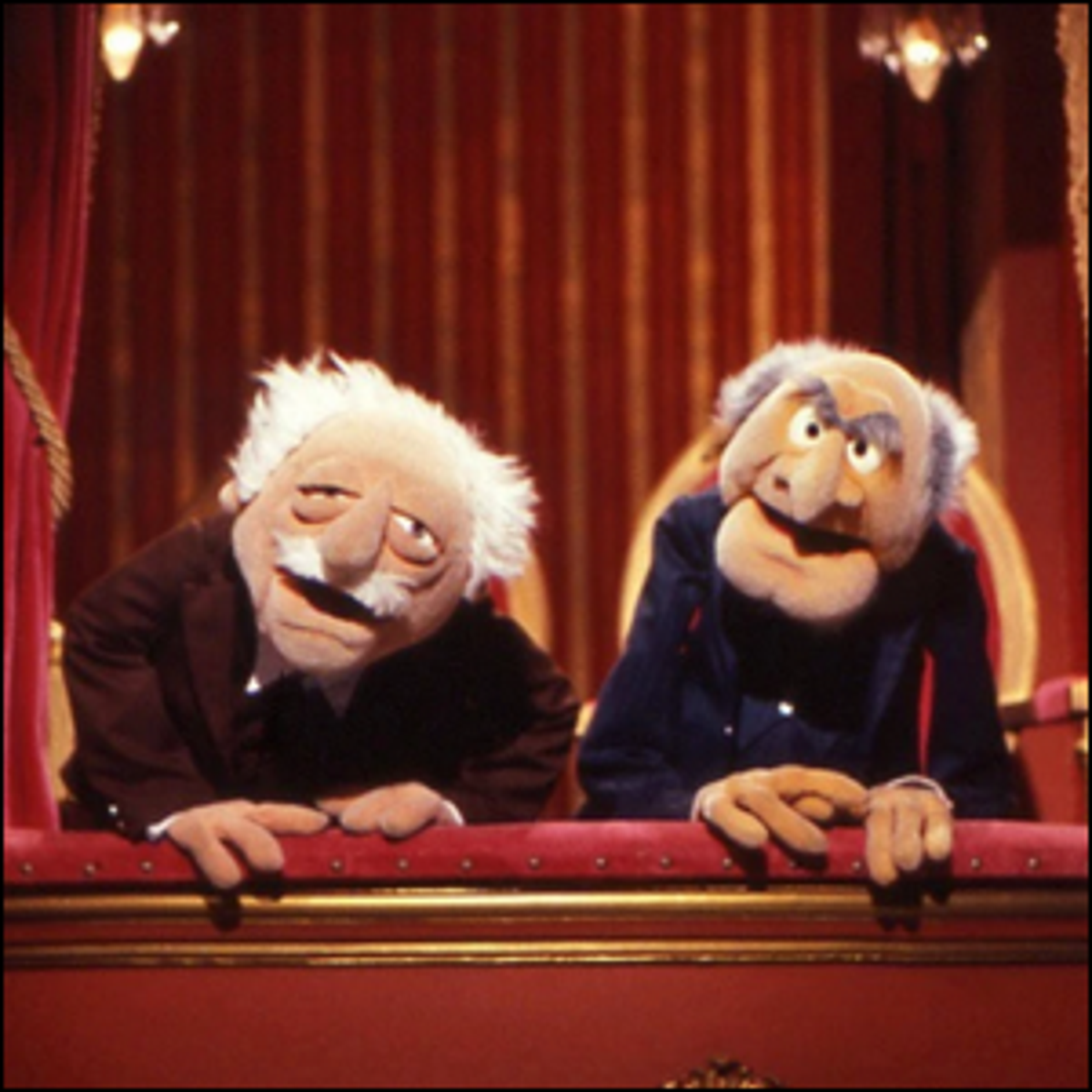 Statler and Waldorf in their balcony seats at the Muppet Theater.