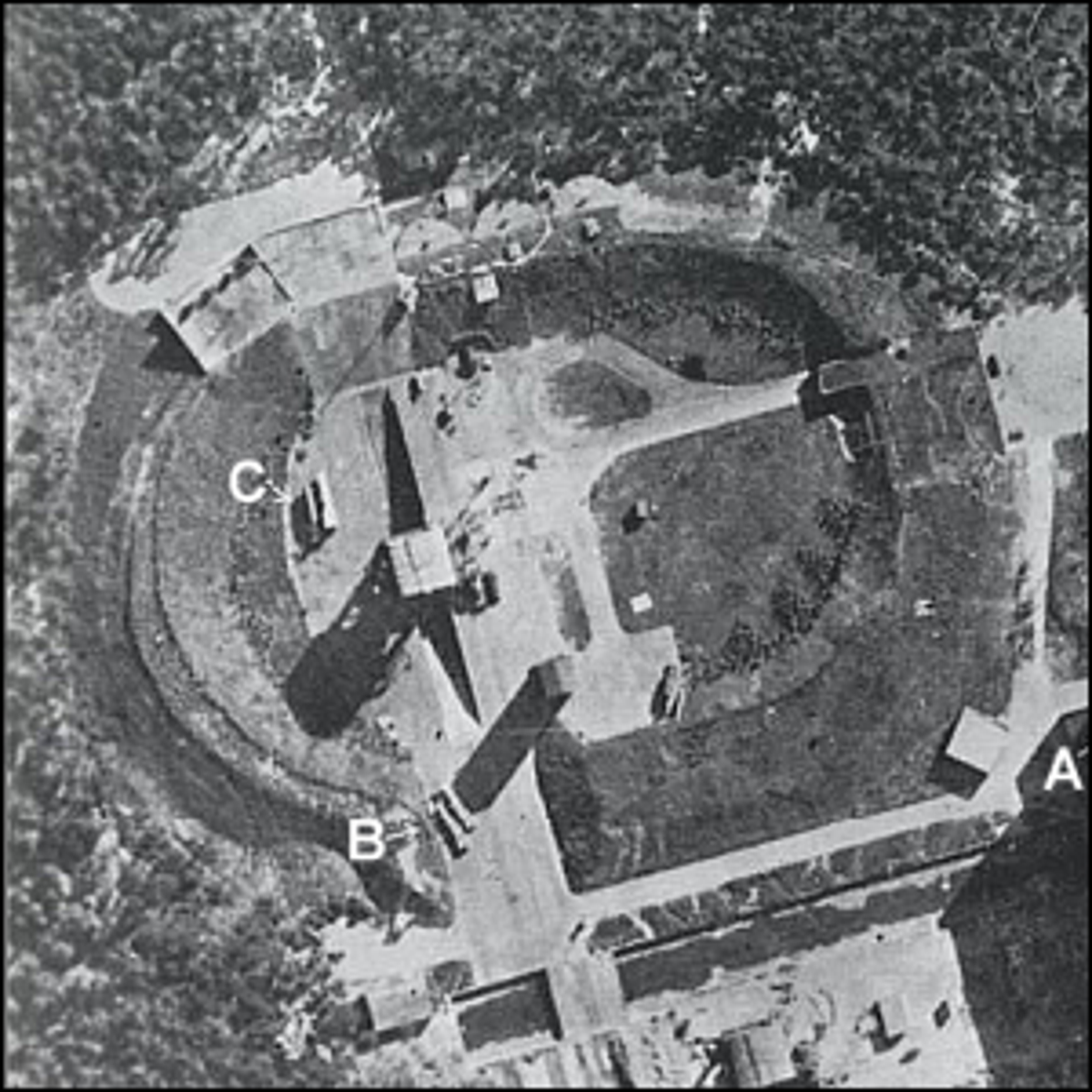 A 1943 Royal Air Force reconnaissance photograph of V-2 rockets at Peenemunde Test Stand VII.