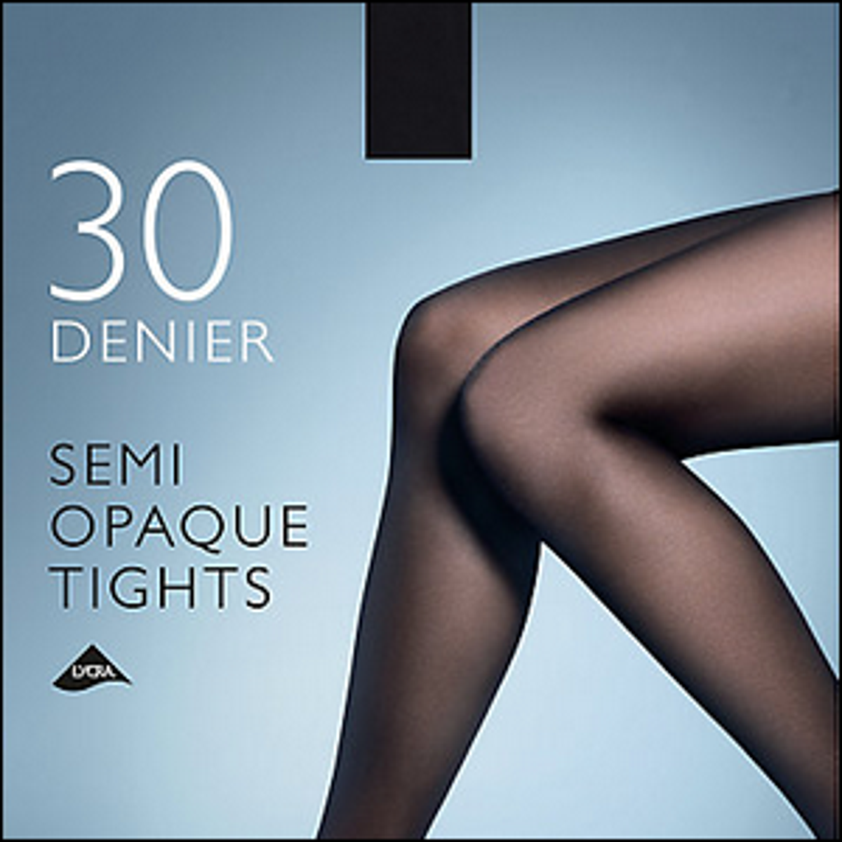 A front package label for 30 denier semi-opaque tights.
