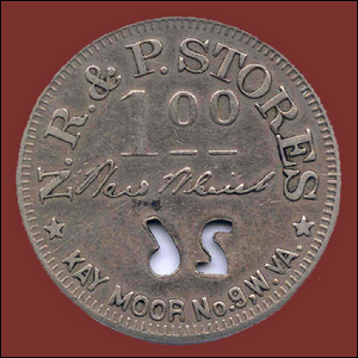 A one dollar scrip coin issued by the Kay Moor Coal Company in the 1890s.