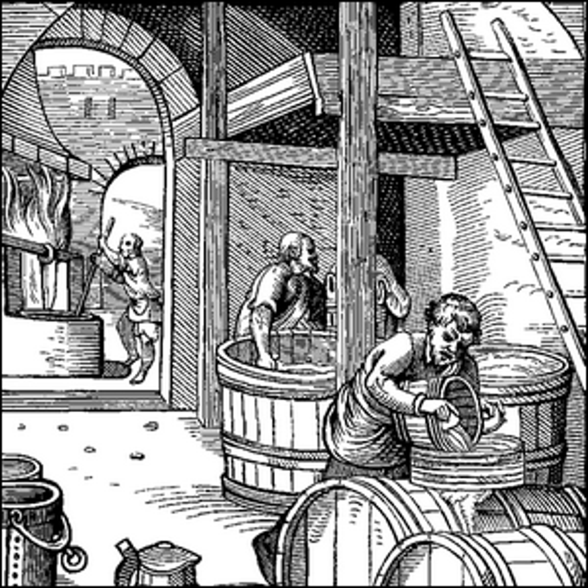 A 16th century engraving of beer brewers at work.