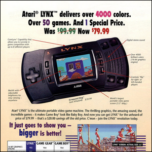 A print ad for the Atari LYNX handheld console.