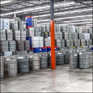 Barrels of maple syrup stored in a Quebec reserve warehouse.