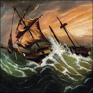 A painting of a sailing ship caught in a storm at sea.