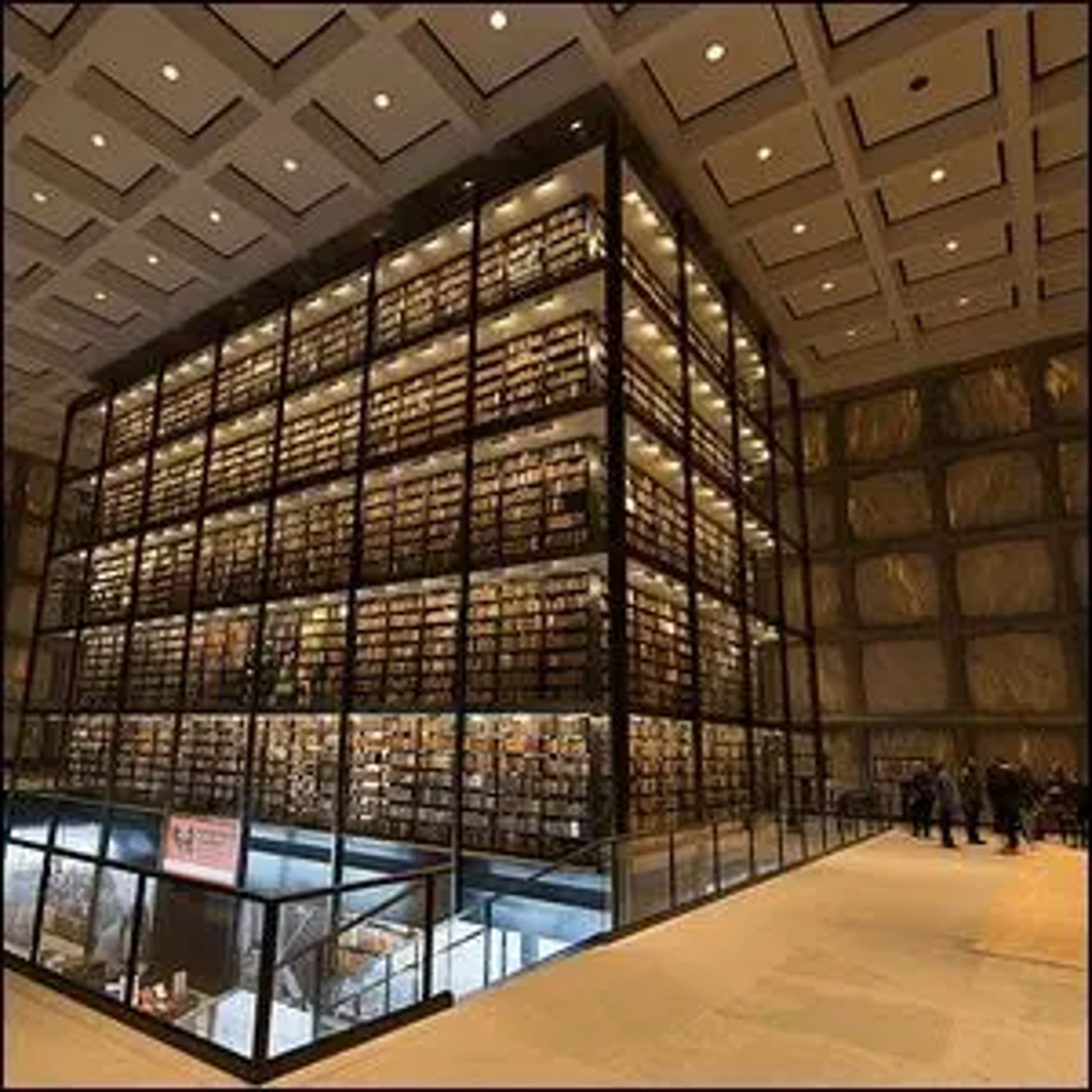 An interior view of Yale's Beinecke Rare Book Library.