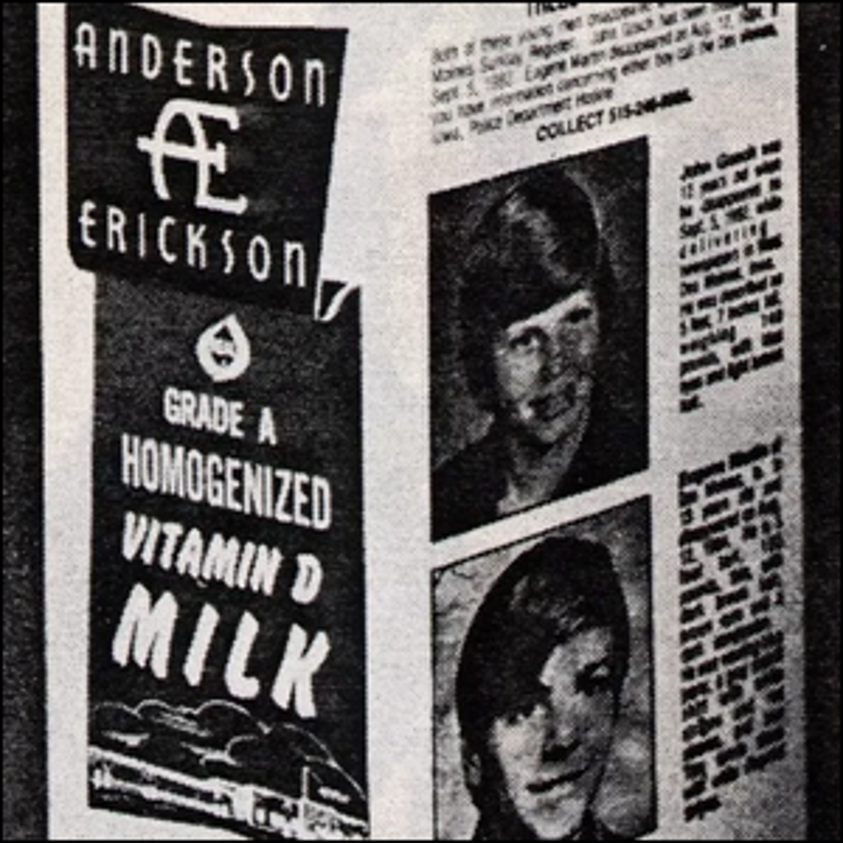 Pictures of two missing children on the side of an Anderson Erickson Dairy milk carton.