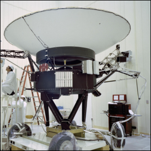 A team of engineers working on the Voyager 2 spacecraft.