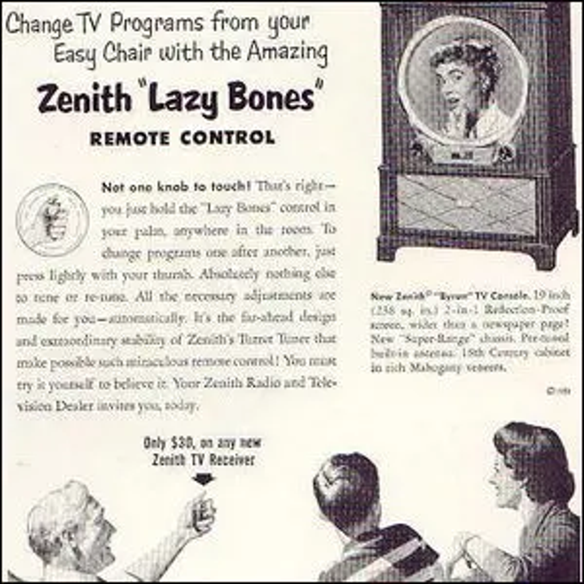 """An early advertisement for Zenith's """"Lazy Bones"""" remote control."""