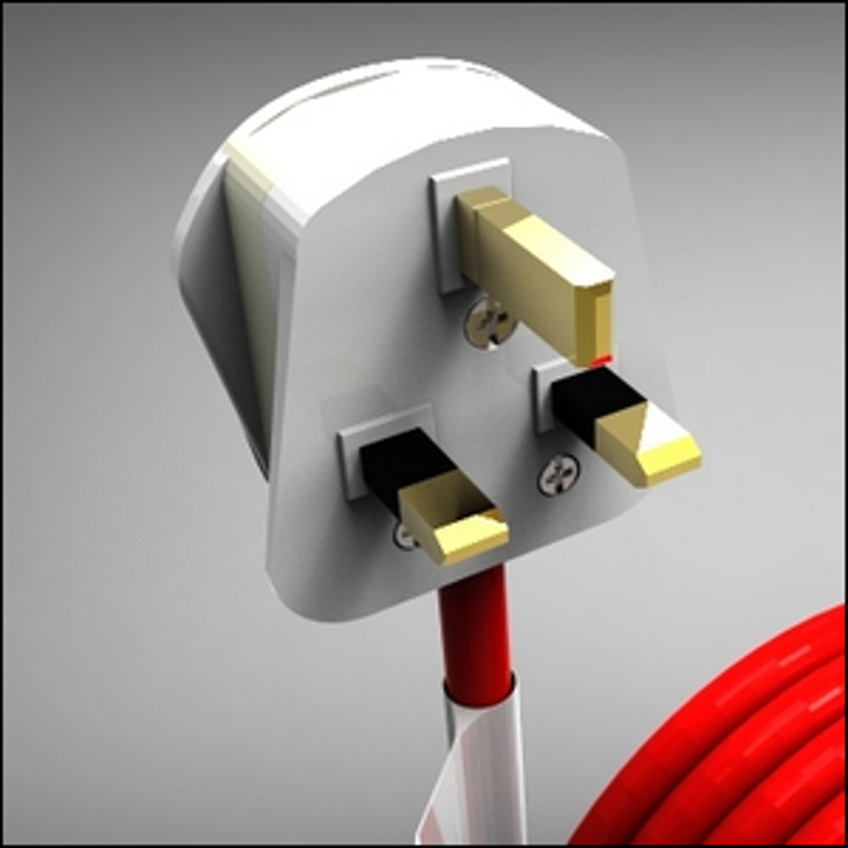 A detailed drawing of a domestic 3-pin U.K. mains type electrical plug complete with a fuse and 3-core cable.