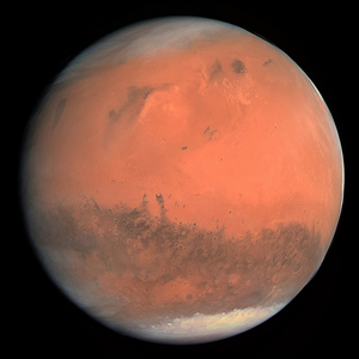 A true color image of Mars taken by the ESA Rosetta spacecraft.