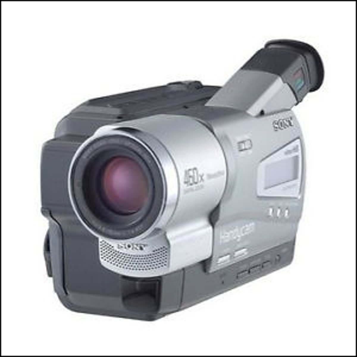 Photo of a handheld Sony camcorder.
