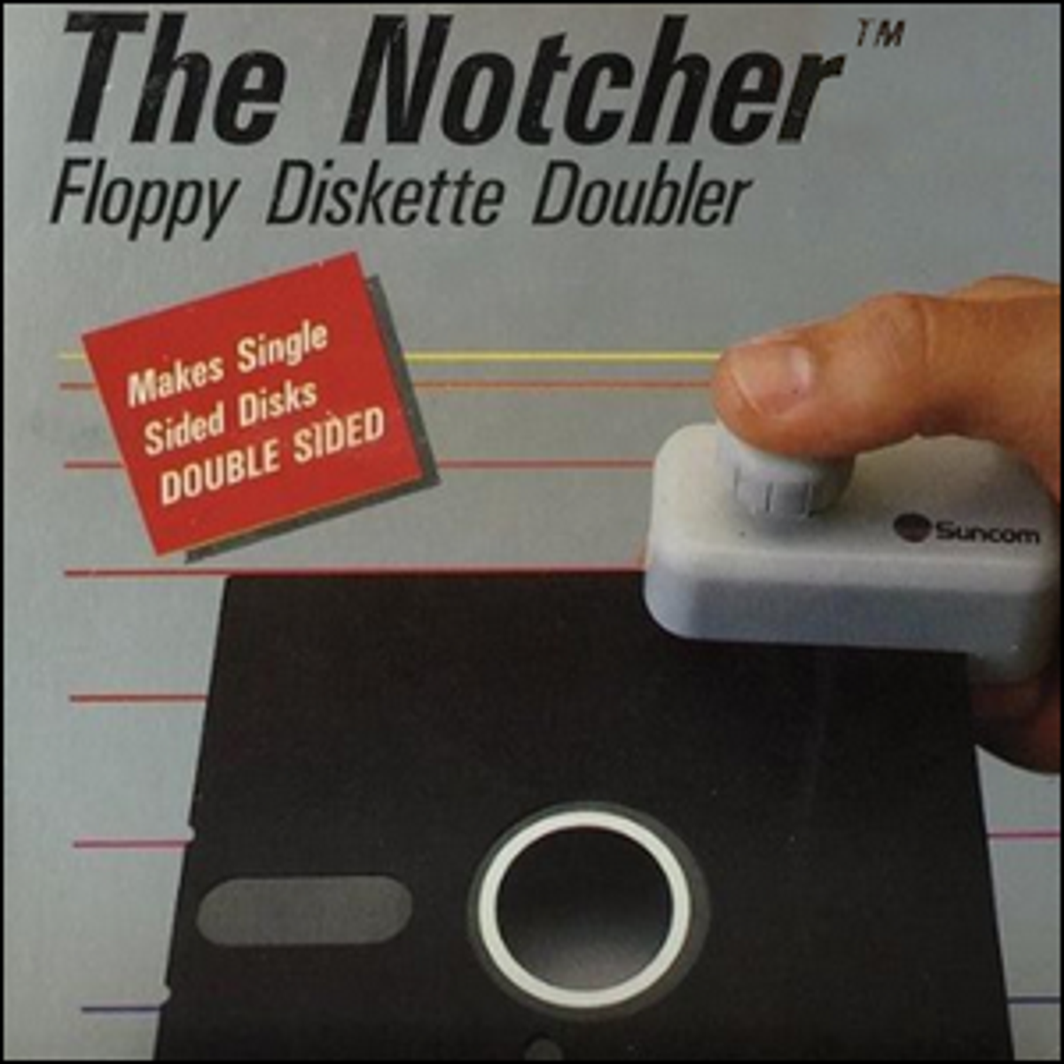 The front of the box for The Notcher Floppy Diskette Doubler.