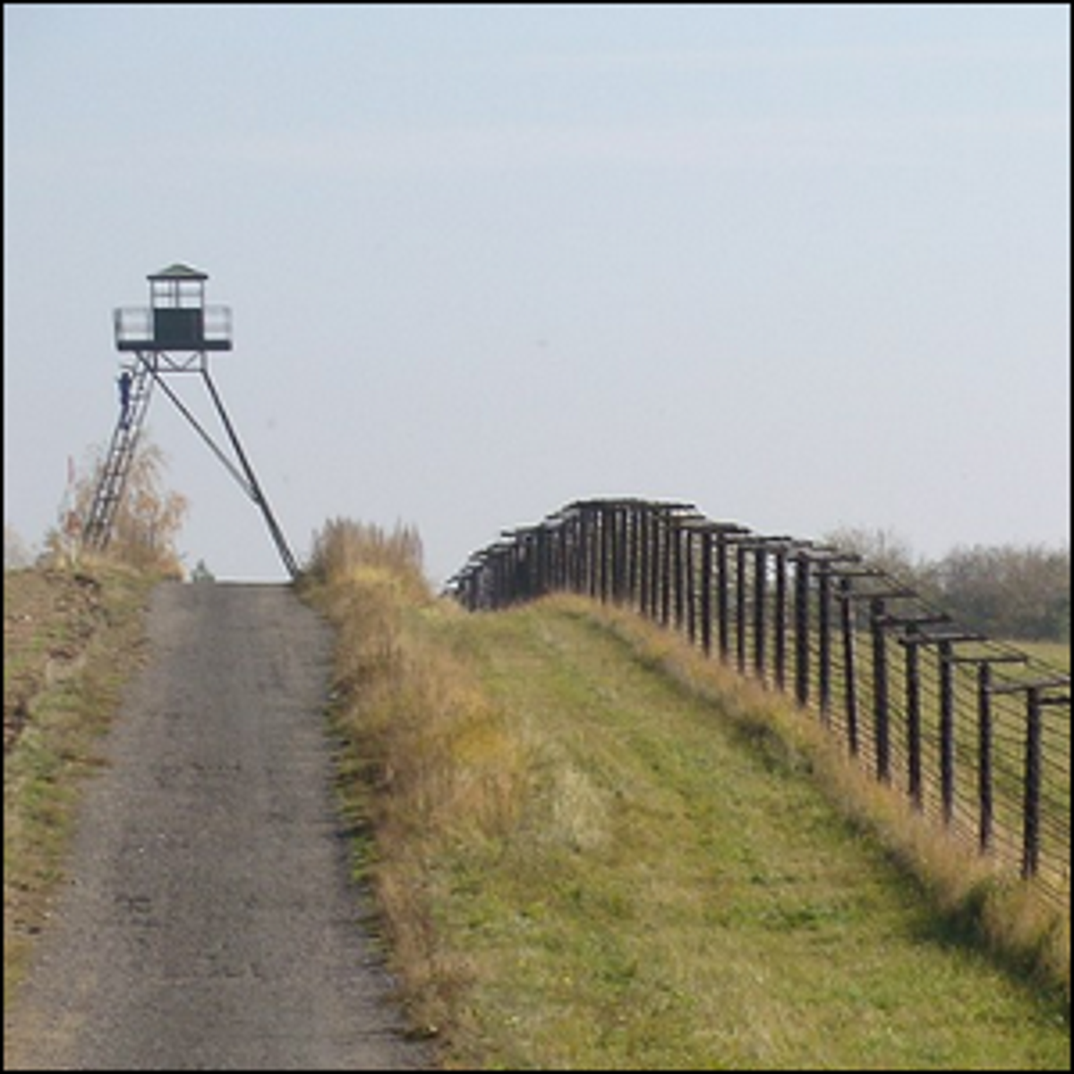 A section of the old Iron Curtain border fortification near Cizov (Horni Breckov) in the Czech Republic.