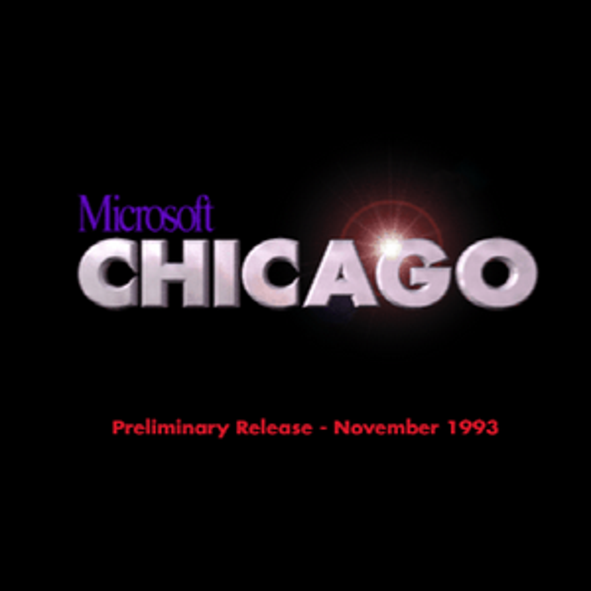 The boot splash screen of an early test copy of Windows 95 showing the code name Chicago.