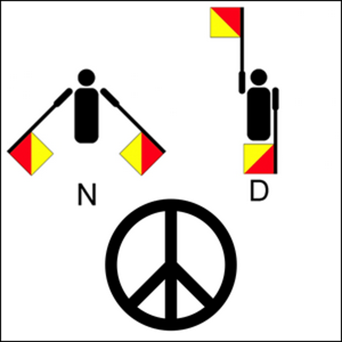 The flag semaphore for the letters N and D next to a peace symbol.