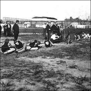 A tug-of-war competition at the 1904 Olympic Games in St. Louis, Missouri.