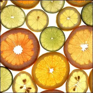 A collection of slices from various citrus fruits.