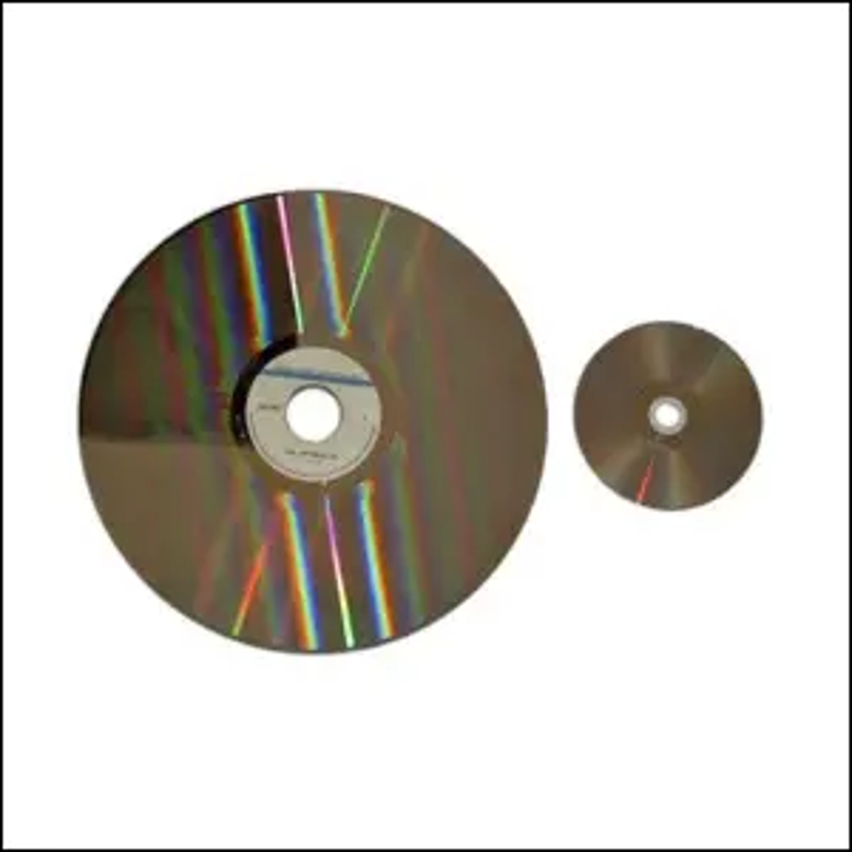 A size comparison between a LaserDisc (on the left) and a DVD (on the right).