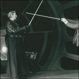 Bob Anderson choreographing and practicing one of the light saber duels in Return of the Jedi.