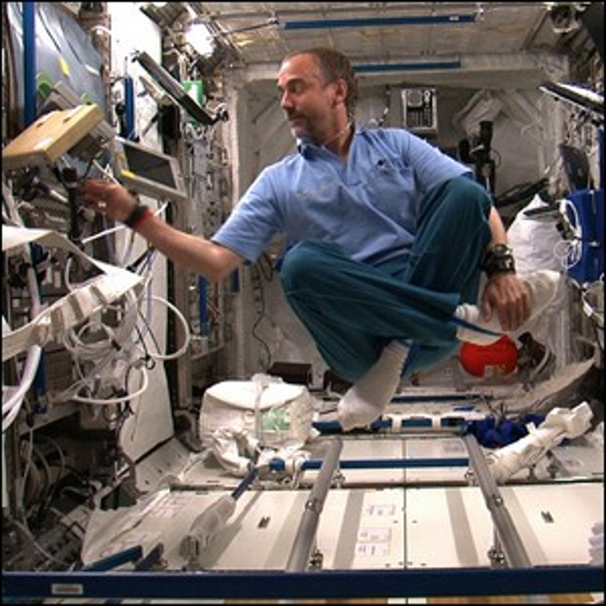 A photo of Richard Garriott during his time aboard the International Space Station.
