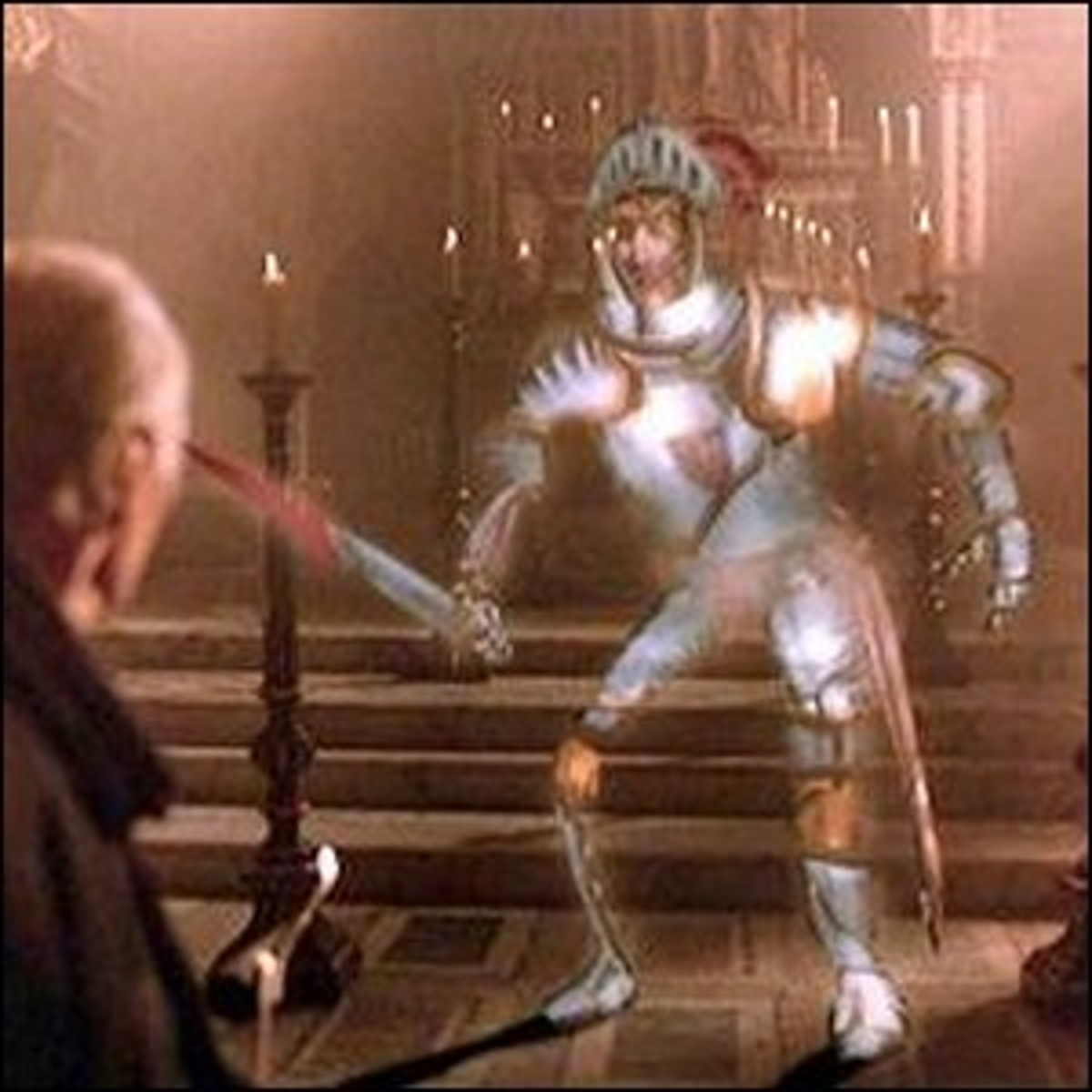 The Stained Glass Knight attacking the priest in Young Sherlock Holmes.