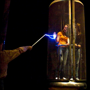 A Faraday cage in operation where the women inside are protected from the electrical arc by the cage.