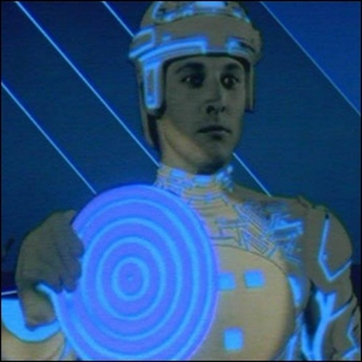 Actor Bruce Boxleitner portraying Tron in the original Tron movie.