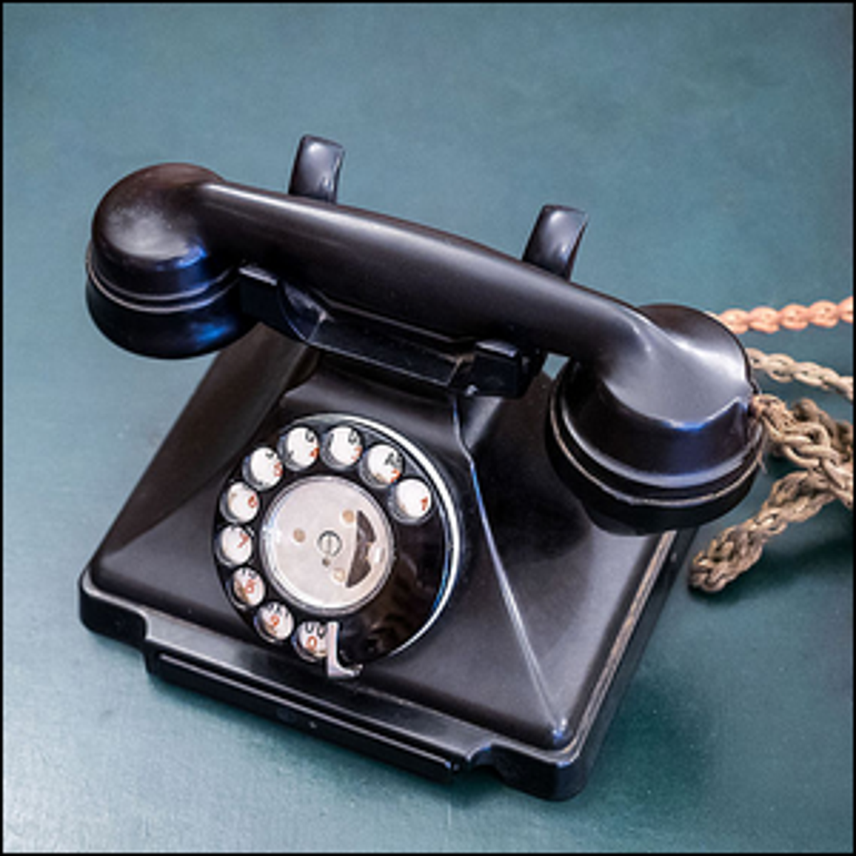 An old Bakelite telephone located at Bletchley Park, Bletchley, Milton Keynes, Buckinghamshire, England.