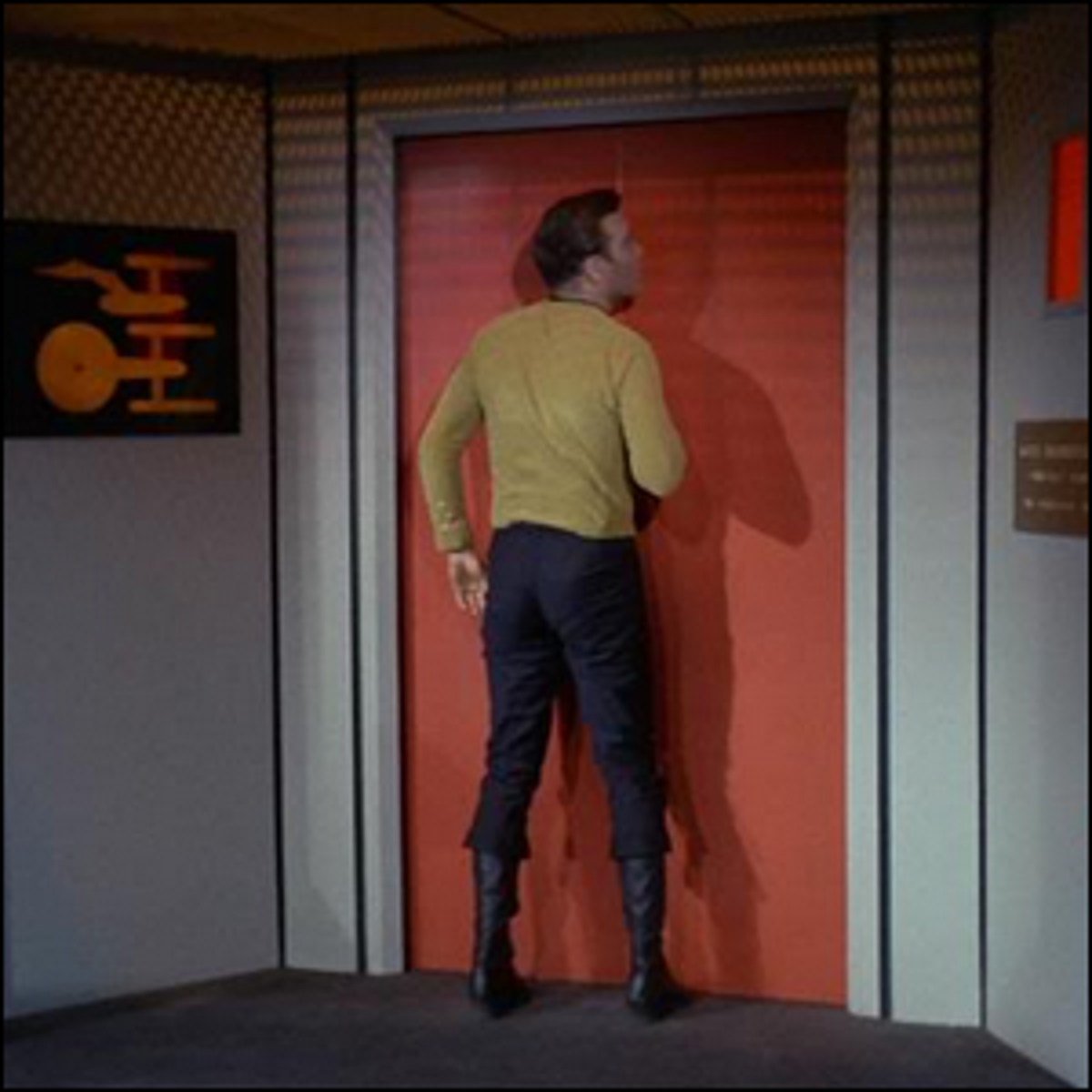 Actor William Shatner bumping into closed doors on the set of Star Trek TOS.