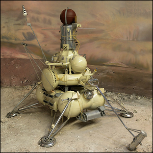 A model of the Luna 16 autonomous space probe located in the Museum of Cosmonautics, Moscow.