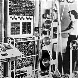 Elsie Booker helping operate a Colossus Mark 2 code breaking computer in 1943.