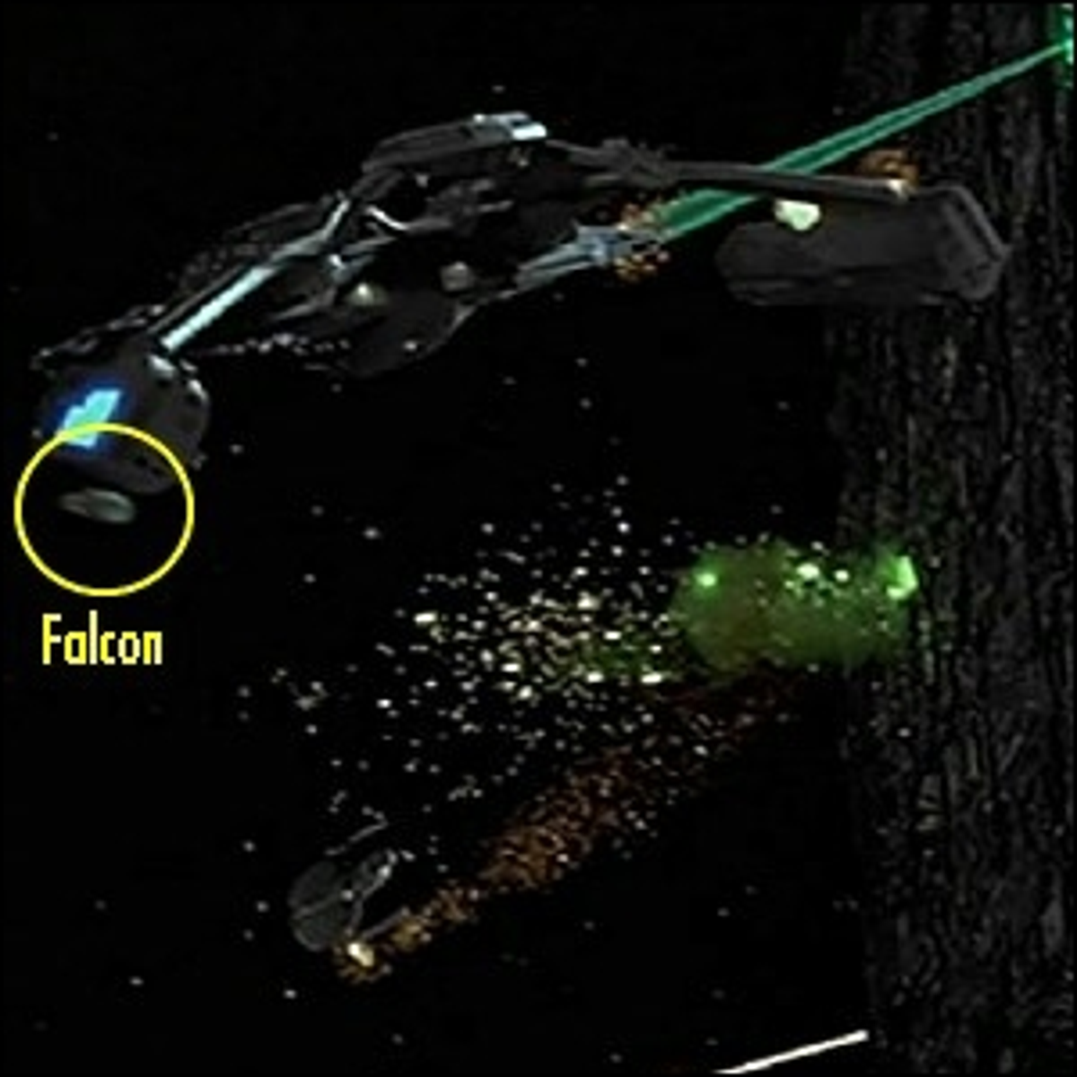 The Millennium Falcon flying between Borg Cubes and Starfleet vessels during the battle.