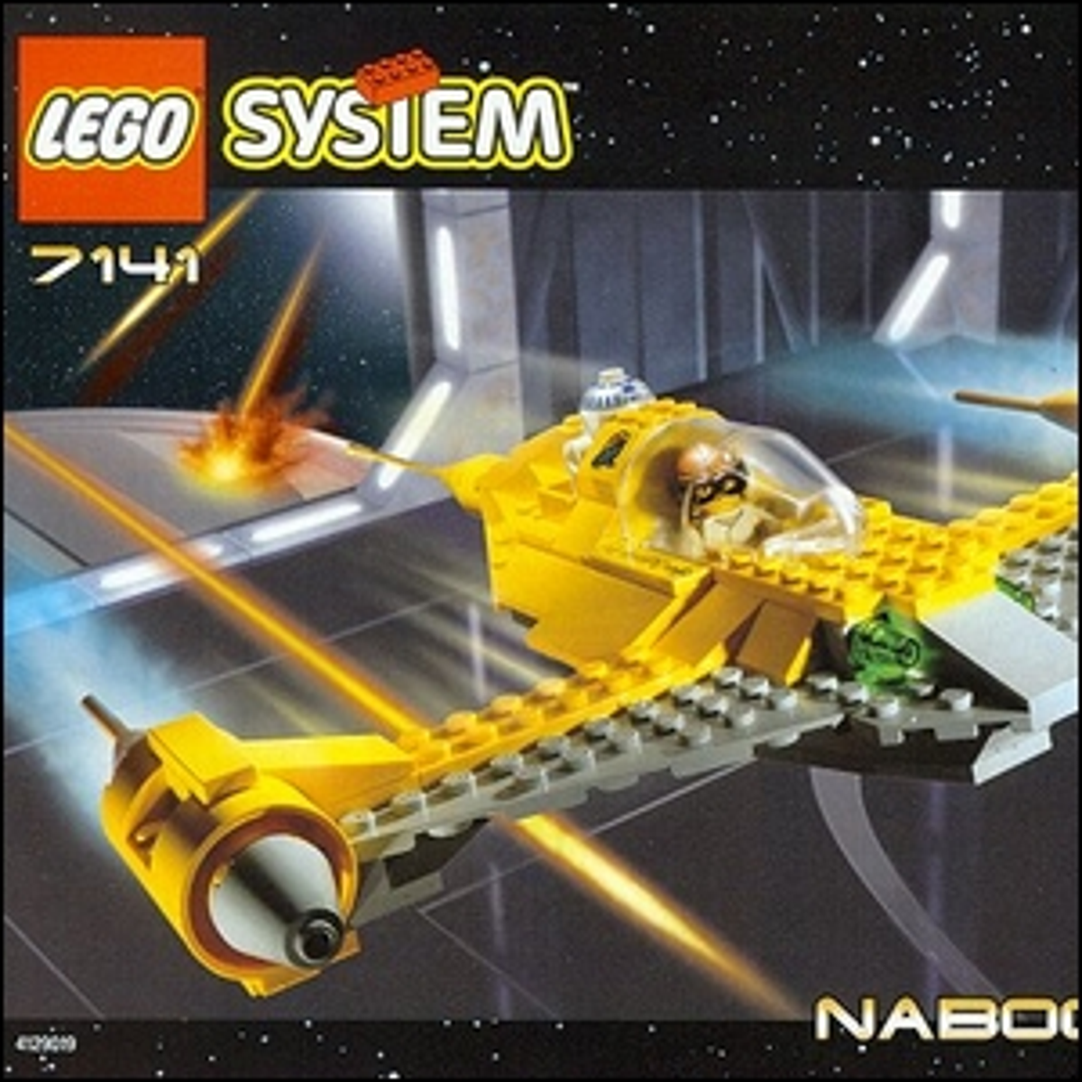 The cover art for the Star Wars Naboo Starfighter LEGO set.