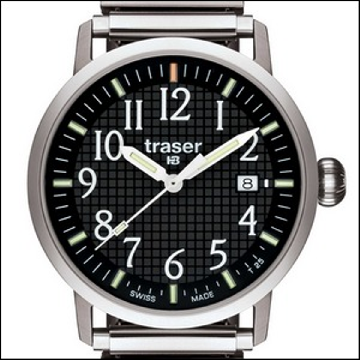 A watch face set to 10:10 in an advertisement.