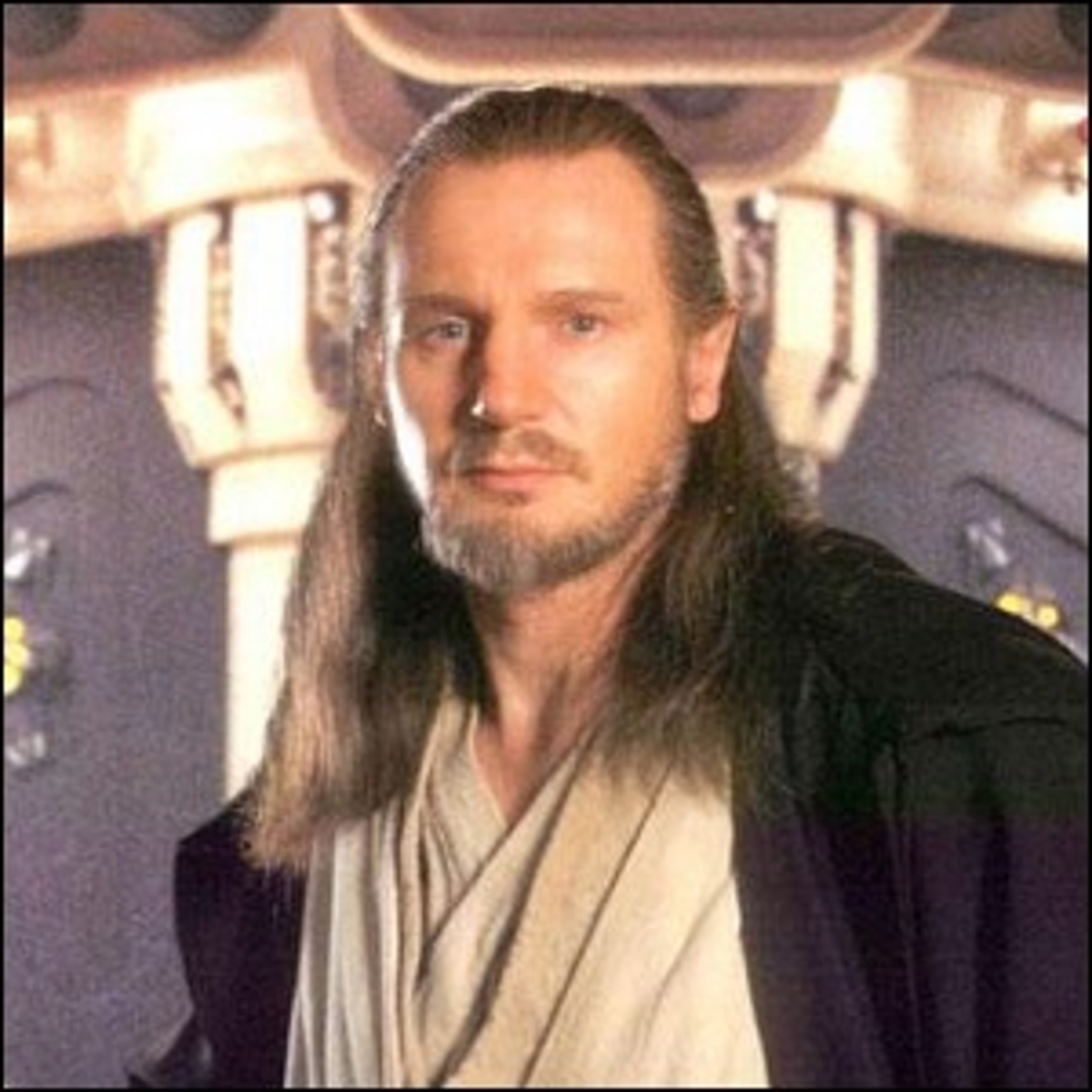 Liam Neeson on the set of Star Wars: The Phantom Menace.