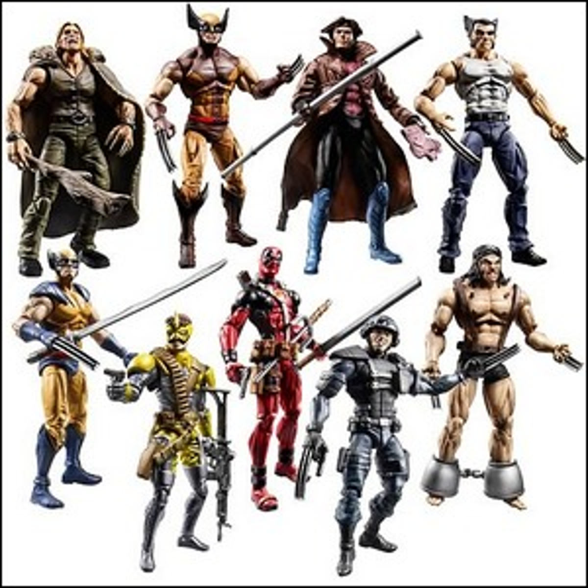 A group of Marvel action figures.
