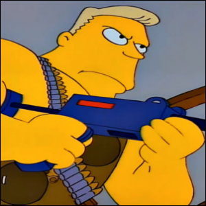 Simpsons action star Rainier Luftwaffe Wolfcastle as McBain in a fight scene.