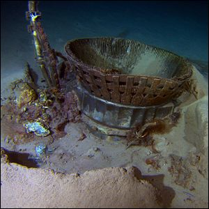 Apollo F-1 rocket engine parts laying on the ocean floor.