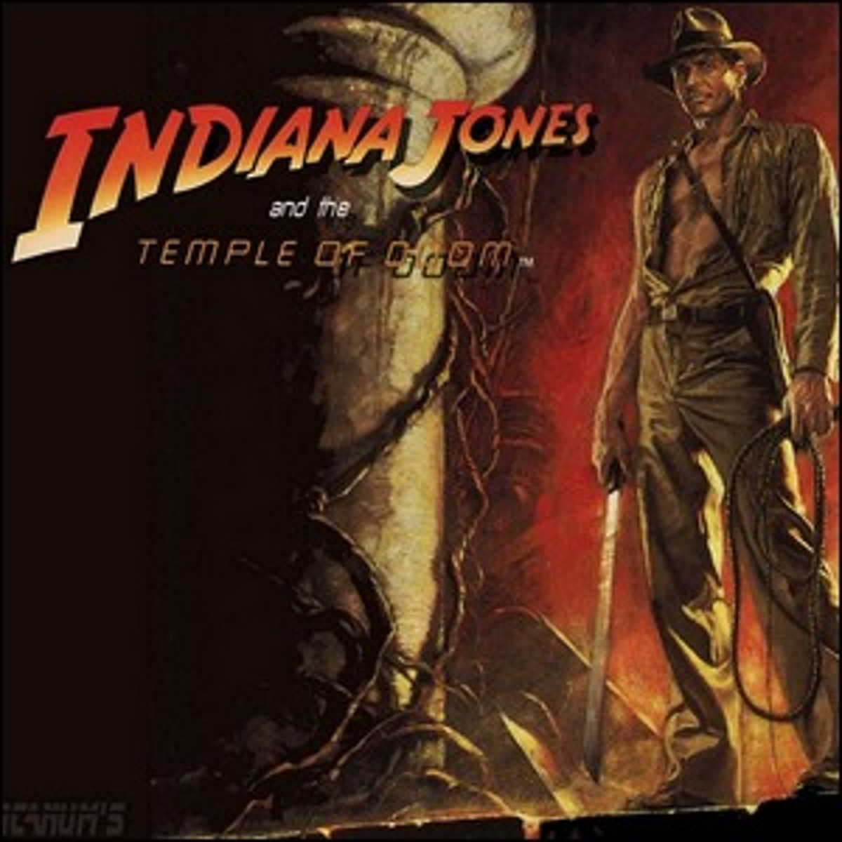 A promotional poster for Indiana Jones and the Temple of Doom.