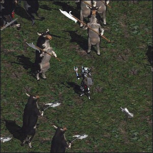 A Diablo player standing in the secret Cow Level.
