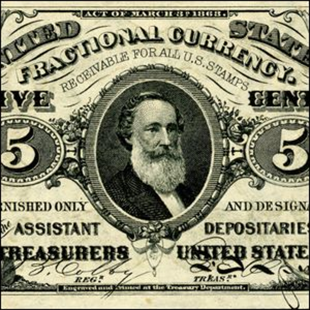 A 5-cent note featuring Spencer M. Clark's face.