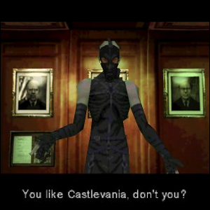 Psycho Mantis, demonstrating the fourth wall breaking Easter egg.