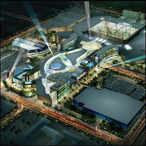 An aerial view of the Mall of America at night.