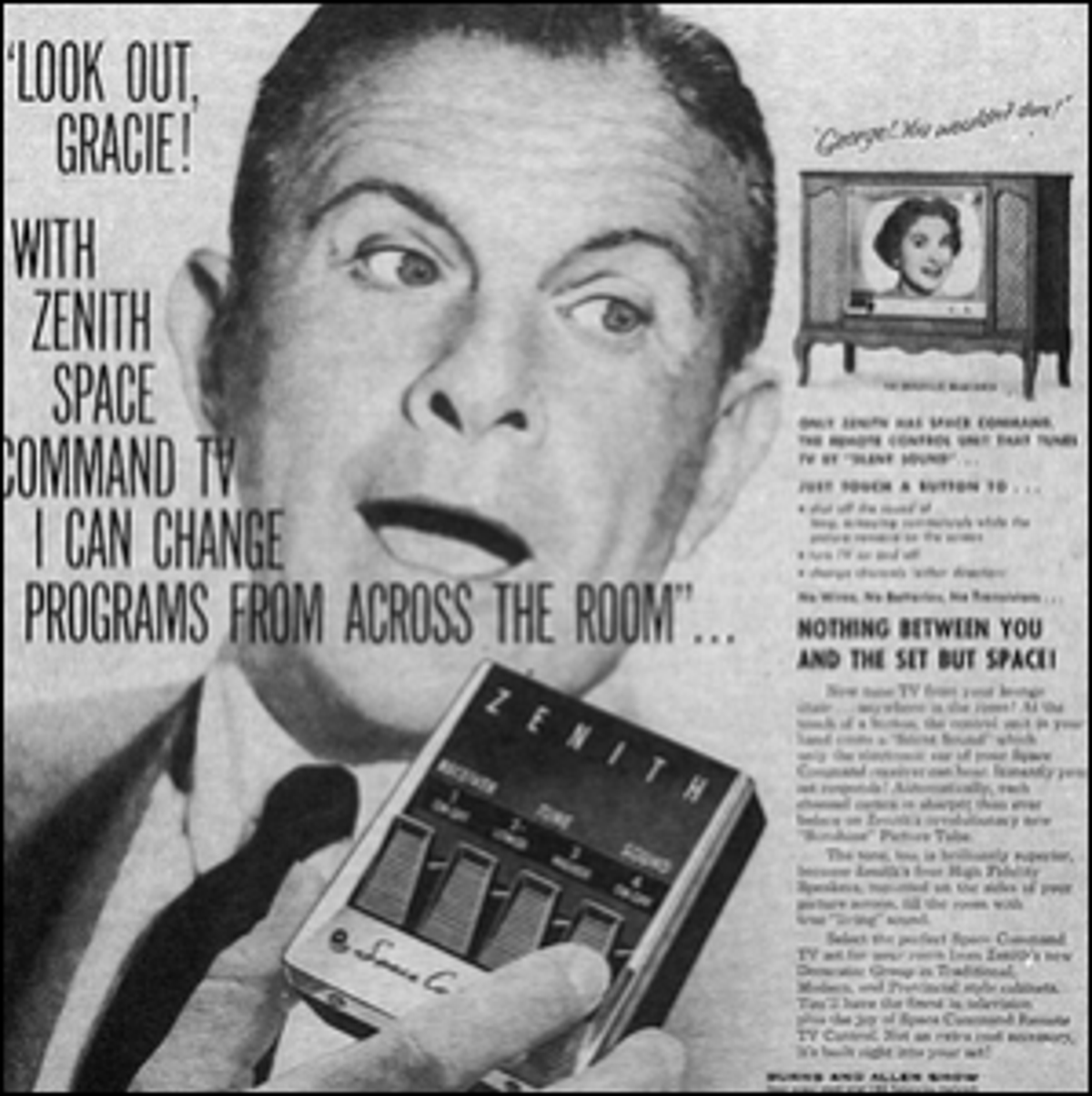 An old Zenith ad depicting the first wireless TV remote.
