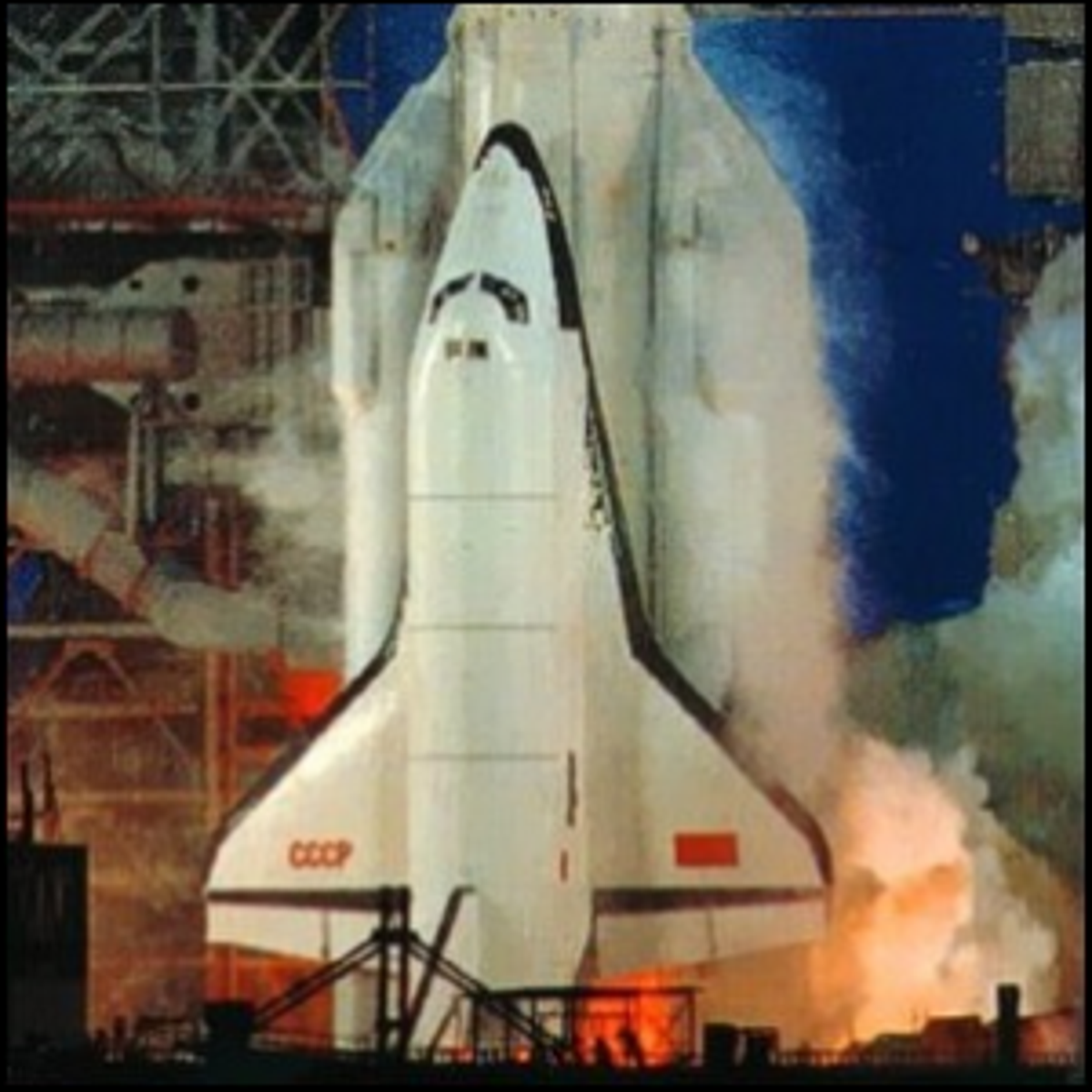 A photo of the only launch of the Buran space shuttle.