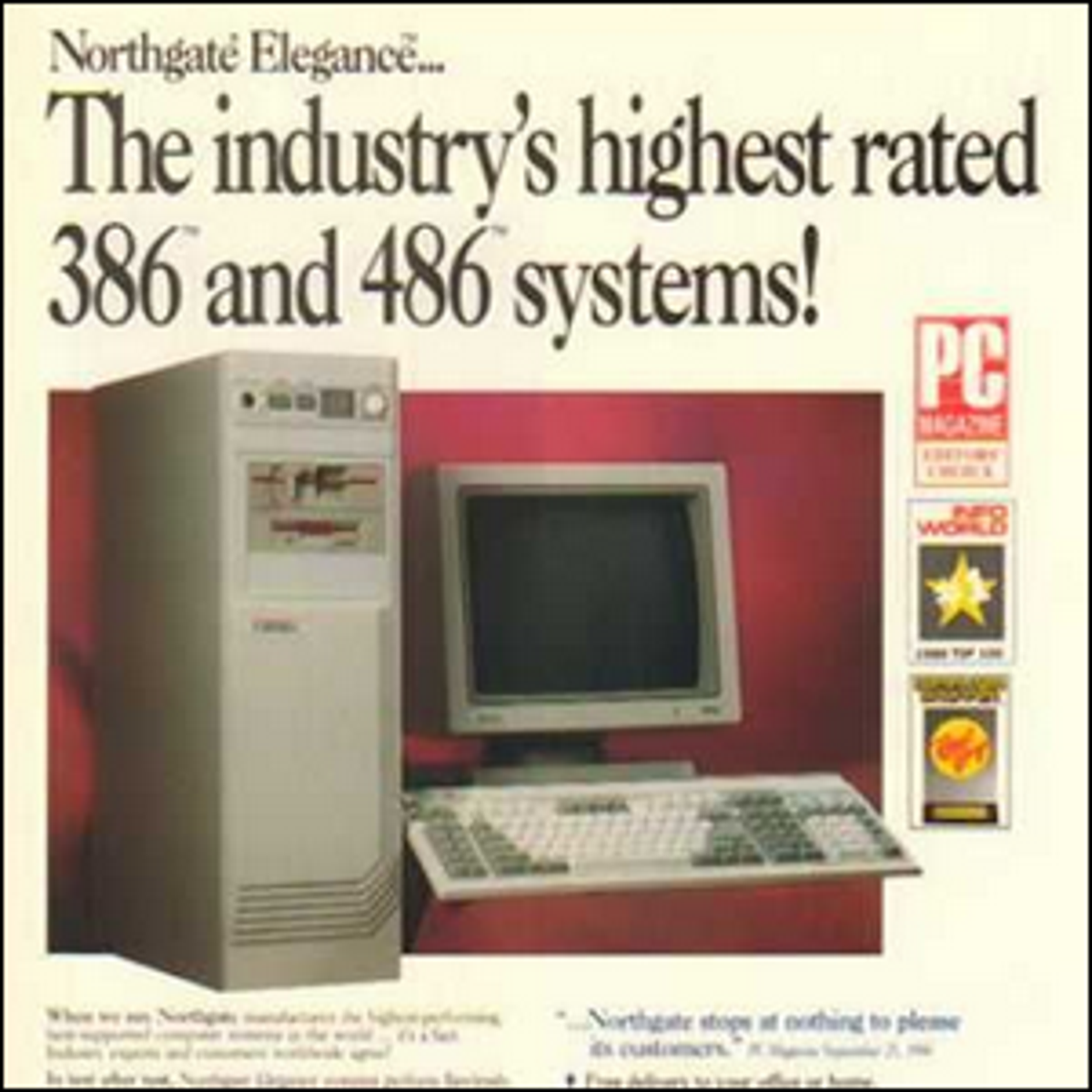 A vintage computer ad for 386 and 486 computers.