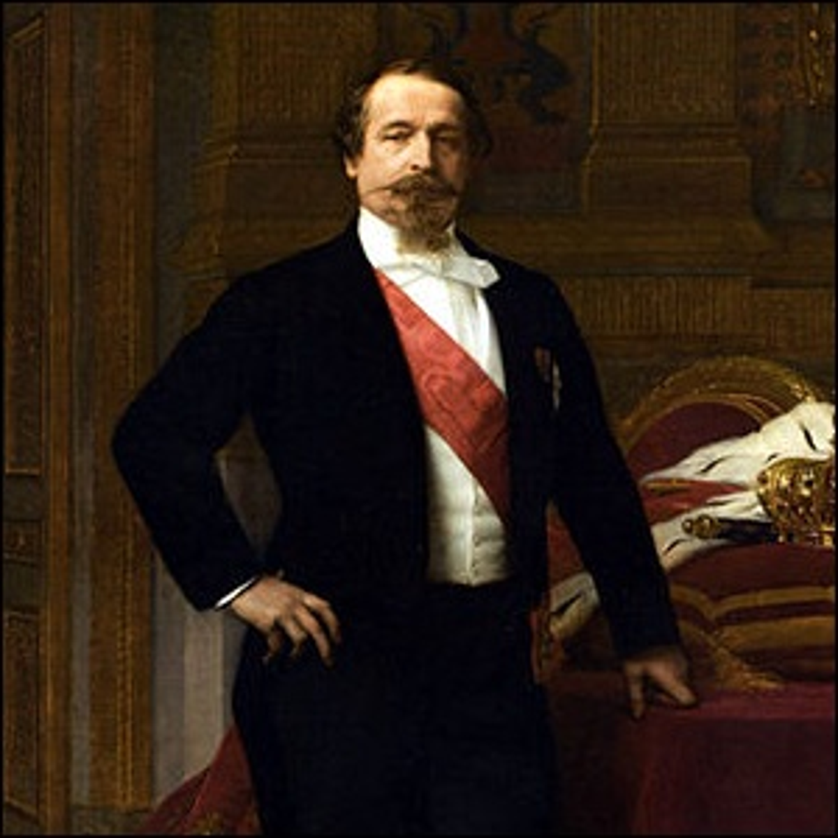 A portrait of Napoleon III wearing a white tie tuxedo and red sash.